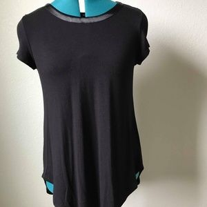 ALFANI Black Dressy Tee Shirt Short Sleeve
